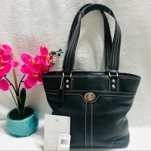 Coach Pebbled Hamilton Shopper Black Leather Tote
